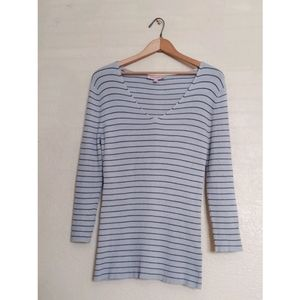 Philosophy V-Neckline Long Sleeve Stripe Top